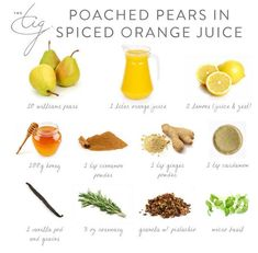 Poached pears in Spiced Orange juice. No recipe as website closed, but use listed ingredients in thumbnail and maybe add 1 cup water and simmer for at least 30 mins or until soft? Then reduce syrup? Pear Recipes, Fruit Recipes, Spicy Broccoli, The Tig, Poached Pears, Organic Cleaning Products, Best Breakfast, Orange Juice, Recipe Of The Day