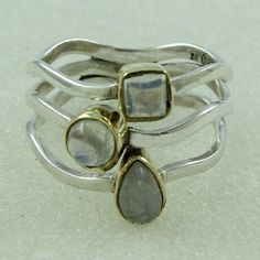 RAINBOW MOON STONE ATTRACTIVE DESIGN 925 STERLING SILVER RING #SilvexImagesIndia #Statement