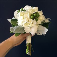 Simple white hydrangea and green hypericum berries in this sweet bridesmaid bouquet Bridesmaid Bouquet, Bridal Bouquets, Hydrangea, Getting Married, Berries, Floral Wreath, Wreaths, Simple, Sweet