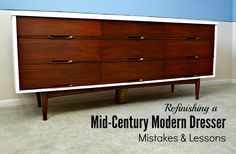 Refinishing A Mid-Century Modern Dresser: Mistakes & Lessons