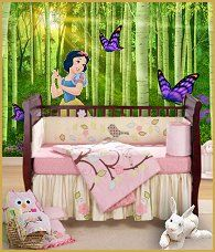 Bring the magic of the Disney Princesses into your home with this giant wall decal of Snow White from Snow White and The Seven Dwarves. This princess is perfect for little girls . Snow white wall decal-forest wall mural-forest animal bedding-woodland themed bedrooms