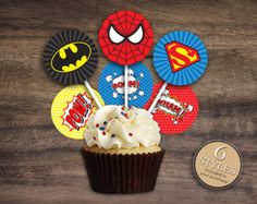 """Instant Download 2"""" Superhero Cupcake Toppers, Superman Cupcake Toppers, Spiderman Toppers, Batman Cupcake Toppers, 2 inch Comic Toppers 22A"""
