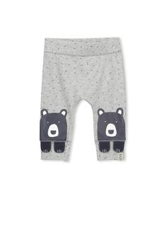 Fun character leggings for your crawler, with knee patches on legs and cute character face on reverse.