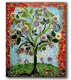Mosaic Monday, Tree Of Life by Art Dog saved by Elizabeth Mosaic Crafts, Mosaic Projects, Art Projects, Stained Glass Art, Mosaic Glass, Mosaic Tiles, Mosaic Wall, Tree Of Life Art, Mosaic Artwork