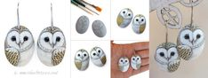 Barn owl earrings handpainted