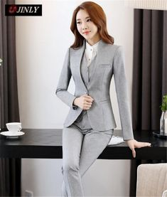 Professional 2016 Autumn and Winter Novelty Grey Business Women Work Suits with 3 Piece Pants + Jacket + Vest Ladies Blazers Set Blazers For Women, Ladies Blazers, Suits For Women, Clothes For Women, Ladies Suits, Business Attire, Business Women, Classic Suit, Vestidos