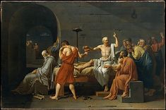 Jacques Louis David (French, 1748–1825). The Death of Socrates, 1787. The Metropolitan Museum of Art, New York. Catharine Lorillard Wolfe Collection, Wolfe Fund, 1931 (31.45) | Accused by the Athenian government of denying the gods and corrupting the young through his teachings, Socrates was offered the choice of renouncing his beliefs or dying by drinking a cup of hemlock. David shows him prepared to die and discoursing on the immortality of the soul with his grief-stricken disciples.