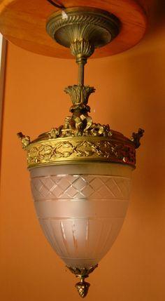 Old Antique Bronze Brass Cut Glass Pendant CHANDELIER CEILING LIGHT Fixture Lamp