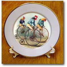 cp_48558_1 TNMPastPerfect Animals - Roosters Riding - Plates - 8 inch Porcelain Plate