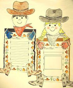 Reading Street Cowboys--Cowboy glyph and cowgirl glyph craftivity #elem