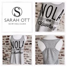 NOLA or Nowhere Flowy Racerback tanks now available in sizes XS to XL! Available for the first time on a super soft Bella tank. Find yours now at my Maple Street store or online at www.SarahOtt.com!  #SarahOtt