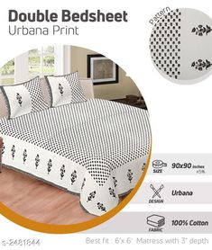 Bedsheets Dream Home Modern Cotton Double Bedsheet Fabric: Bedsheet - Cotton Pillow Covers - Cotton Dimension: ( L X W ) - Bedsheet - 100 X 108  in Pillow Cover - 27 in x 17 in Description: It Has 1 Piece Of Double Bedsheets With 2 Pieces Of Pillow Covers Work: Printed  Thread Count: 200 Country of Origin: India Sizes Available: Free Size   Catalog Rating: ★4.2 (466)  Catalog Name: Free Mask Riya Dream Home Modern Cotton Double Bedsheets Vol 3 CatalogID_333393 C53-SC1101 Code: 655-2481844-