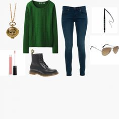 Green With Envy! #Sweater #Jeans -Visit [WiShi], a virtual styling hub where you can both request styling and style other users, and create your own Thanksgiving look today!
