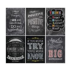 The powerful messages on these beautifully designed and trendy chalkboard-themed posters will inspire students of all ages. Great for display in classrooms, hallways, offices, college campuses and mor