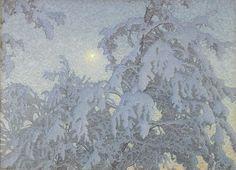 Gustaf Fjaestad, VintersolGUSTAF FJAESTAD 1868-1948 Vintersol Signerad och daterad G. Fjaestad -14. Olja på pannå, 92 x 128 cm.
