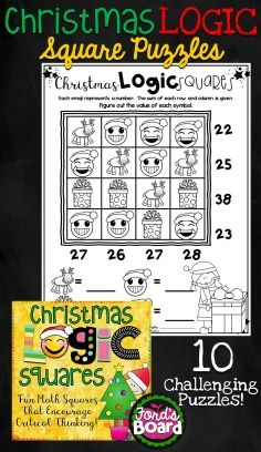 These 10 brain teasers will engage students as they think critically! The math puzzles require students to analyze and problem solve – all skills they need for success across content areas. Students' minds will be stimulated and challenged as they use logic to figure out the value of each symbol included in a puzzle. All games have a Christmas theme, which appeal to students and make solving the puzzles fun and interesting!