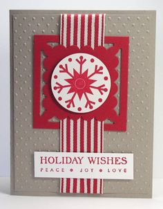Some quick Christmas cards.  I hope you'll enjoy my creations.  This is the third layout choice at our community M&T using the same card pack as seen in my two previous cards #1 & #2, I'm a Stampin' Up! demonstrator,have my own DBWS and LOVE it.  Please come and visit me.  I have a daily blog on My Story page M-F.  http://SimplyBarbMann.stampinup.net