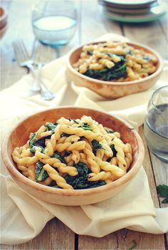 Gemelli Pasta with Garden Greens and Pine Nuts.  Simple and healthy 30 minute pasta.