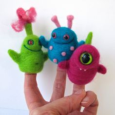 Needle felted monster finger puppets