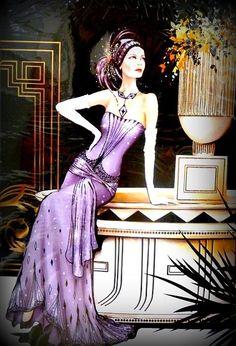 Art Deco Lady in Purple by cheechongr