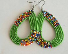 African Earrings, Maasai Earrings, African Jewellery, Beaded Earrings, Green Earrings, Handmade Earrings, Boho Earrings