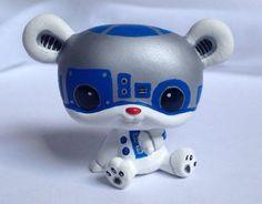 Littlest pet shop * L2P2 Robot * Custom Hand Painted LPS Star Wars Bear OOAK #Hasbro