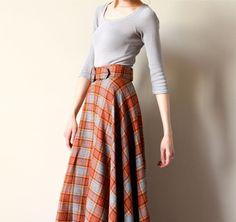 60s Plaid Wool Maxi Skirt, boho hippie Tartan long a-line preppy kilt inspired frock, prairie steampunk Victorian, sienna brown & grey