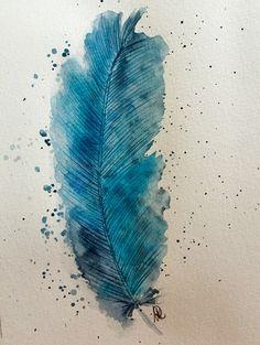 Aquarell - Feder -Original-Aquarell fine art - ein Designerstück von NewAgeArtist bei DaWanda