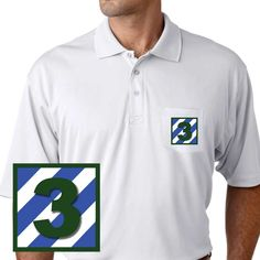 """Army 3rd Infantry """"3"""" Performance Pocket Polo Shirt. These Polos will keep you cool as they are performance wicking, stain-resistant & offer UV Protection. The Imagery will last a lifetime as it will never crack/peel. Designed, Printed & Sublimated in the USA -Fabric Imported."""