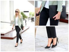 EW's Assistant Online Editor Annah throws on a tailored mint blazer to brighten up her monochrome look.