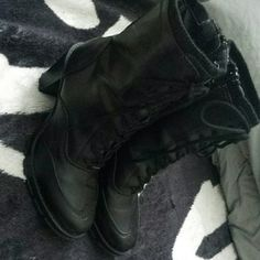 Black Combat/Girly Boots. They lace up and have a zipper on the side. Only worn once, just too small for me now. Route 66 Shoes Combat & Moto Boots