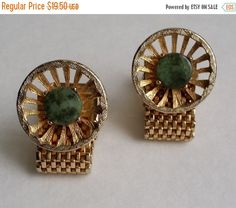 ON SALE Amazing Vintage Gold Tone Green Jasper Mesh by CircaTrends