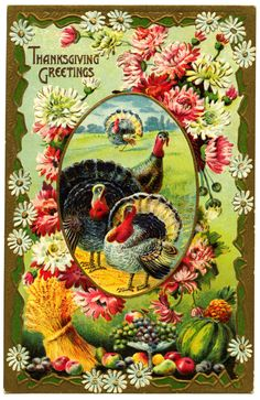 Here is a free vintage Thanksgiving postcard for you. Front: and back: Click on images to enlarge.