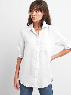 Oversize Boyfriend Shirt in Linen | Gap