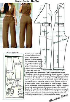 Sewing Dress Costura e Modelagem Sewing Dress, Sewing Pants, Dress Sewing Patterns, Sewing Clothes, Clothing Patterns, Diy Clothes, Jumpsuit Pattern, Pants Pattern, Pattern Dress