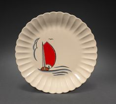 Nautical Plate,  Leigh Ware (American, b. 1920)  ceramic, earthenware with decal decoration, Overall - h:2.20 w:25.30 cm