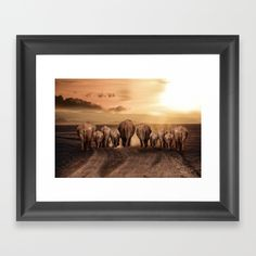 Follow the Sun - Elephant Family Framed Art Print by Artworks 'REPIN TO YOUR OWN INSPIRATION BOARD' All artworks are available with or without a frame, on Canvas boards, Wall Tapestry, Home decor such as Pillows, Duvet sets, Shower curtains etc, and fashion items like Bags, T-shirts, Leggings and Phonecases . Thanks for looking