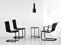Newly in production chairs, lounge chair and sidetable designed in the 30's by Alvar Aalto and his wife Aino Aalto, Artek.