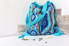 Bag Crochet Maghreb. Crochet Shoulder Bag. Turquoise Crochet