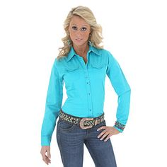 Wrangler® Western Fashion Long Sleeve Solid Top - Turquoise