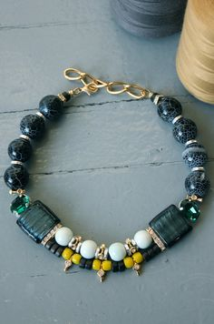 Grey and Light Blue Short Necklace with Beads and Semi Precious Stones.