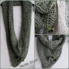 crocheted triangle shawl made of fine, soft, Alize wool with metallic threads