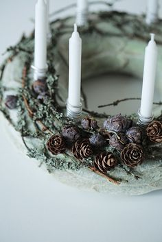 Advent Wreath- Holiday Wreath- Christmas Wreath- Candle ring -Centerpiece - Home decor