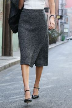 Classic Knit Gray Wrap Skirt