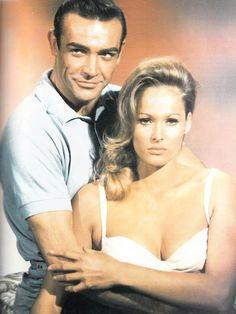 "Sean Connery and Ursula Andress in ""Dr. No"" James Bond - Dr No James Bond Actors, Actor James, Sean Connery 007, Bond Series, Cinema Movies, Movie Film, Timothy Dalton, Ursula Andress, Pierce Brosnan"