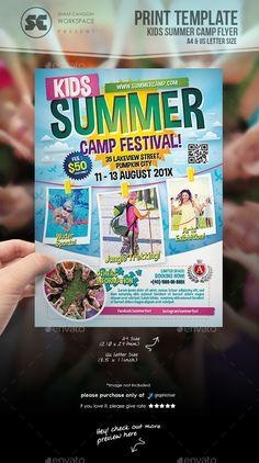 Summer Camps For Kids, Summer Kids, Summer School, Event Flyer Templates, Brochure Template, Magazine Ideas, Lato Font, School Template, Graphic Design Brochure