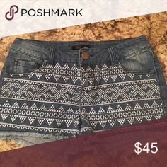 Aqua Jean Shorts Super cute tribal patterned jean shorts! Price is negotiable! Aqua Shorts Jean Shorts