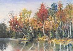"Daily Paintworks - ""Lakeside Musing"" - Original Fine Art for Sale - © Debbie Yacenda"