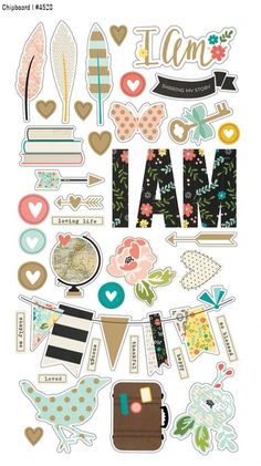 Simple stories chipboard stickers - i am by pnwcrafts on etsy scrapbook sti To Do Planner, Happy Planner, 2015 Planner, Blog Planner, Scrapbook Stickers, Scrapbook Paper, Bullet Journal Décoration, Diy And Crafts, Paper Crafts