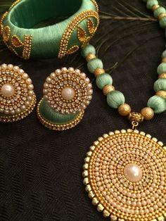 Light green silk thread necklace set-www.EleganceByDeepa.com
